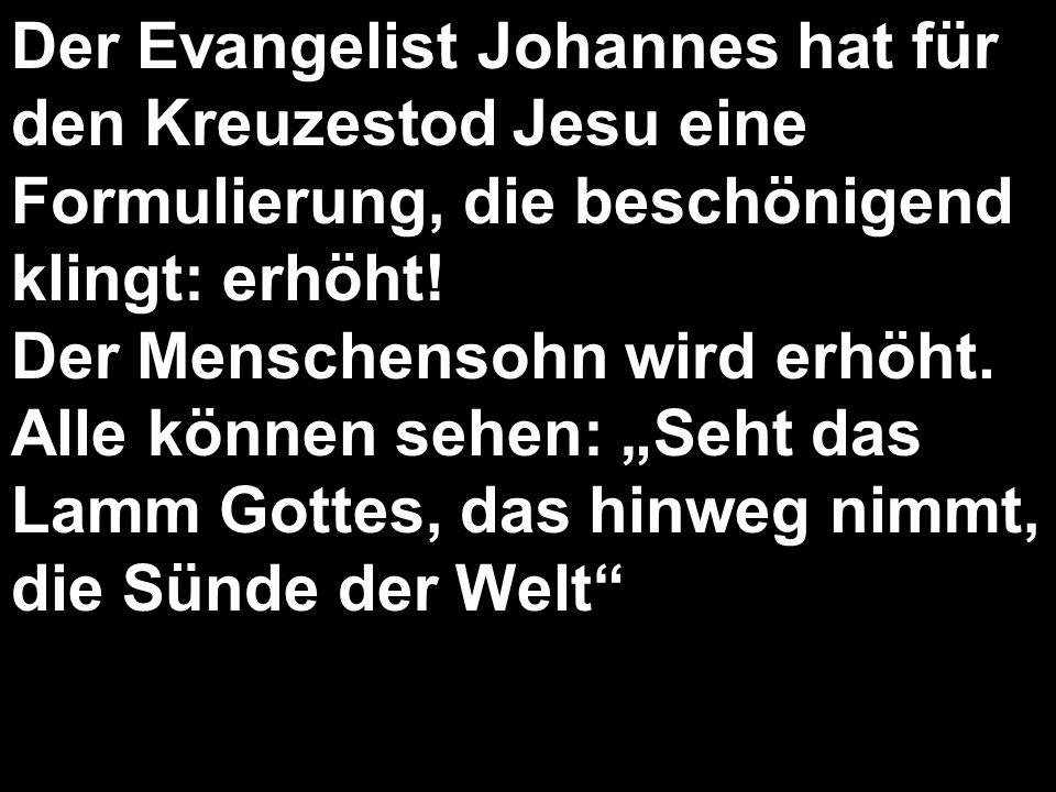 Der Evangelist Johannes hat für den Kreuzestod Jesu eine Formulierung, die beschönigend klingt: erhöht! Der Menschensohn wird erhöht. Alle können sehe