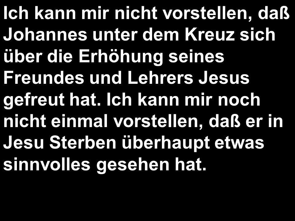 Ich kann mir nicht vorstellen, daß Johannes unter dem Kreuz sich über die Erhöhung seines Freundes und Lehrers Jesus gefreut hat. Ich kann mir noch ni