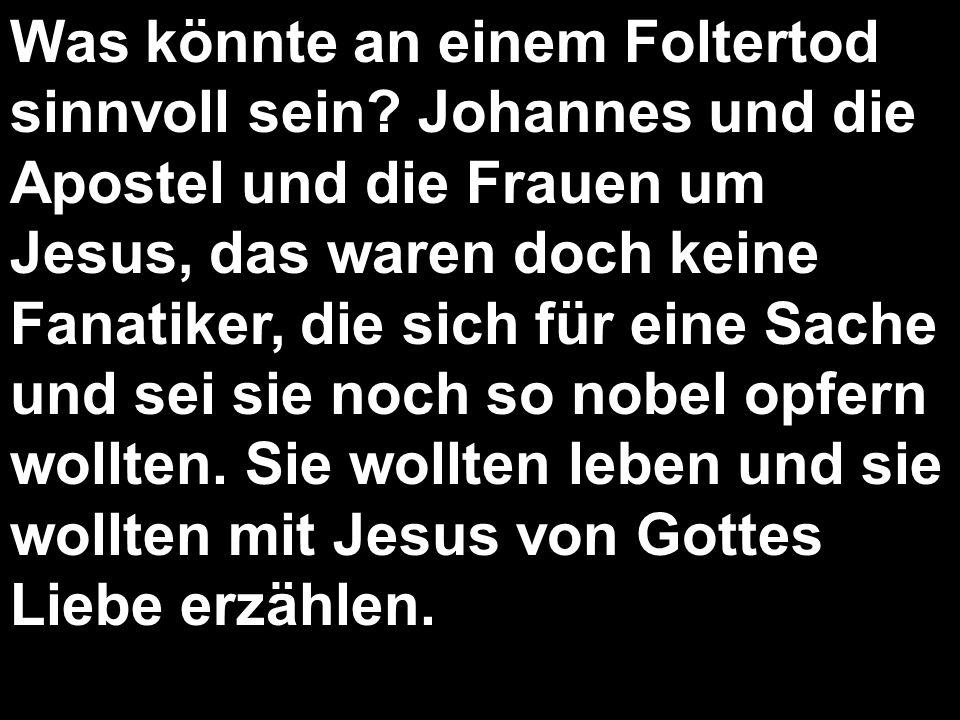 Was könnte an einem Foltertod sinnvoll sein? Johannes und die Apostel und die Frauen um Jesus, das waren doch keine Fanatiker, die sich für eine Sache