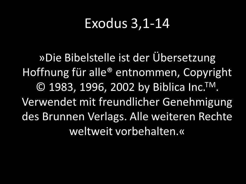 Die Lesung hören wir aus dem zweiten Buch Mose, dem Buch Exodus: