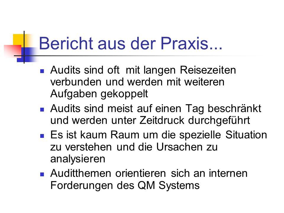 Bericht aus der Praxis... Audits sind oft mit langen Reisezeiten verbunden und werden mit weiteren Aufgaben gekoppelt Audits sind meist auf einen Tag