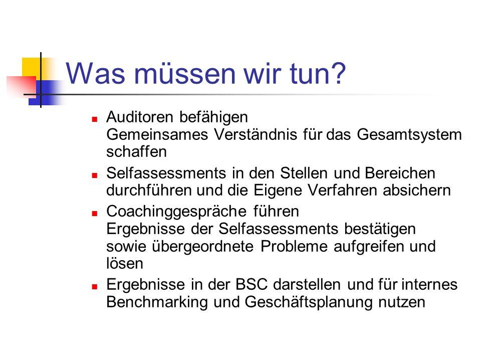 Was müssen wir tun? Auditoren befähigen Gemeinsames Verständnis für das Gesamtsystem schaffen Selfassessments in den Stellen und Bereichen durchführen