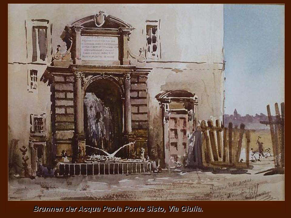 Via del Borgo mit dem Campanile Glockenturm der Kirche St. Maria im Hintergrund Traspontina Passetto. Alte Häuser in der Gasse an der Unterseite des G