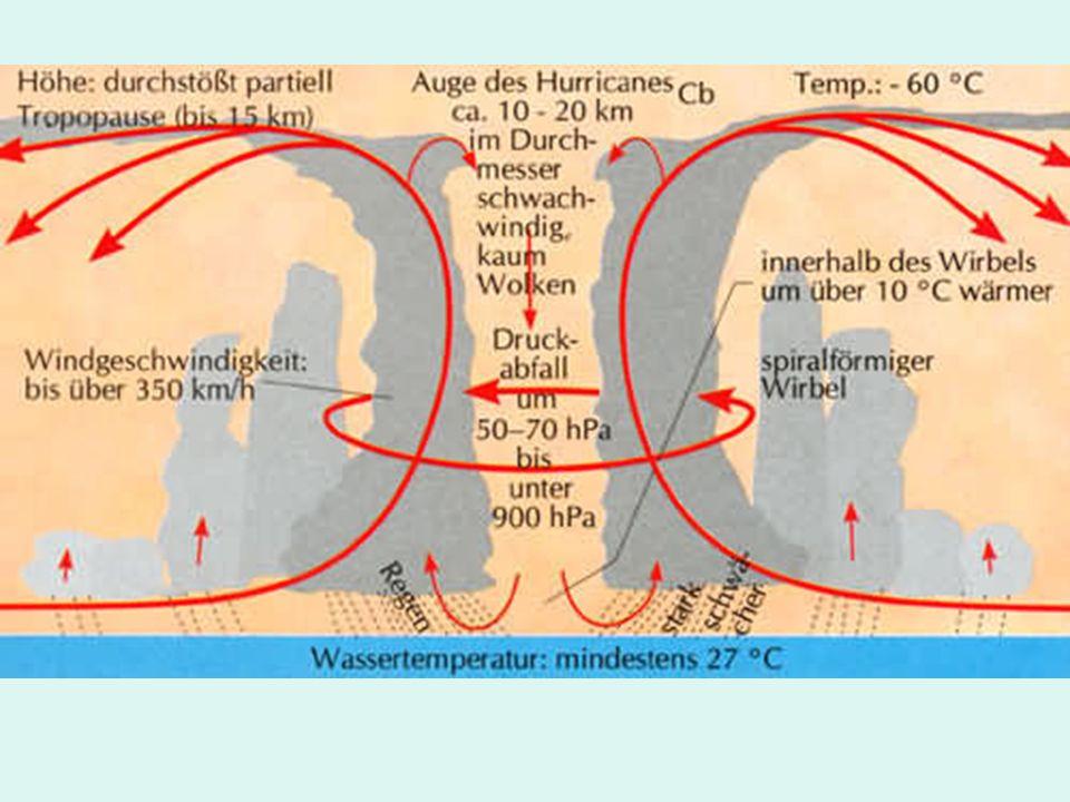 Etwa 2 Millionen Tonnen Wasserdampf saugt ein Wirbelsturm täglich aus dem Meer.