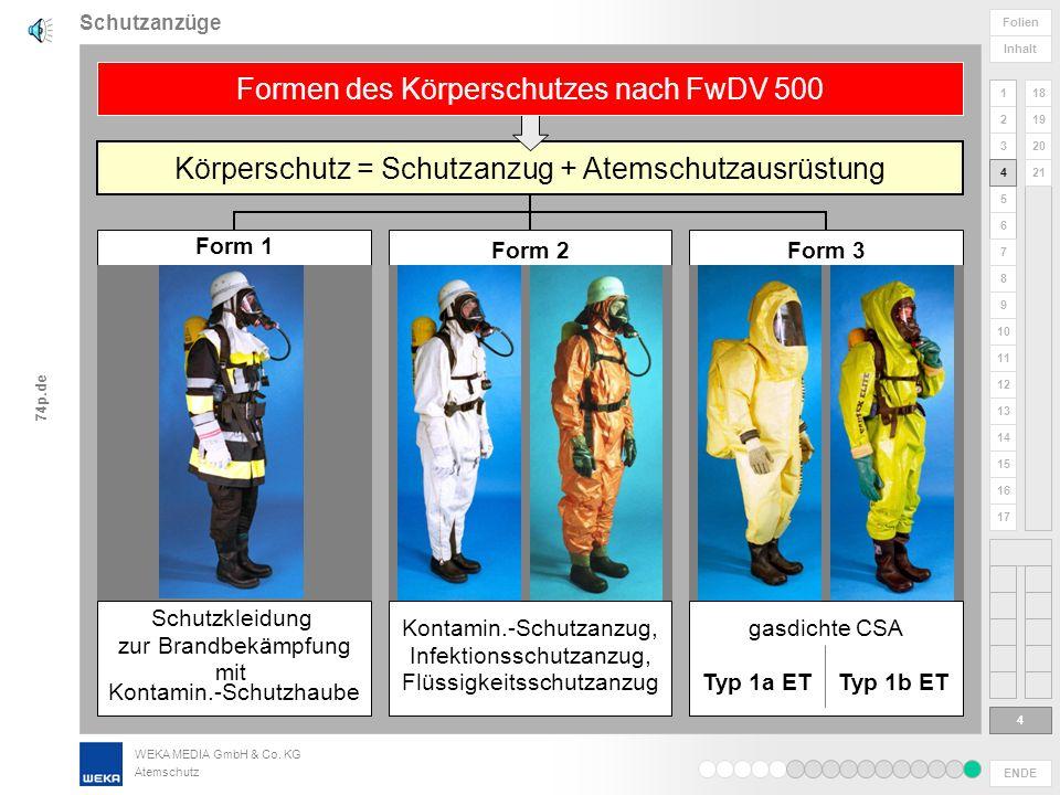 WEKA MEDIA GmbH & Co. KG Atemschutz ENDE 1 2 3 4 5 6 Folien Inhalt 74p.de 7 8 9 10 11 12 13 14 15 16 17 18 19 20 21 Foto: Vetter Schutzanzüge 3 3 Chem