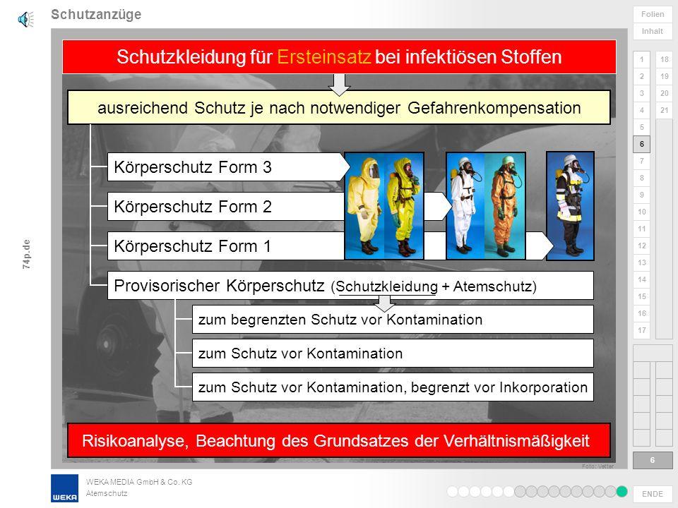 WEKA MEDIA GmbH & Co. KG Atemschutz ENDE 1 2 3 4 5 6 Folien Inhalt 74p.de 7 8 9 10 11 12 13 14 15 16 17 18 19 20 21 Schutzanzüge 5 5 je nach Risiken b