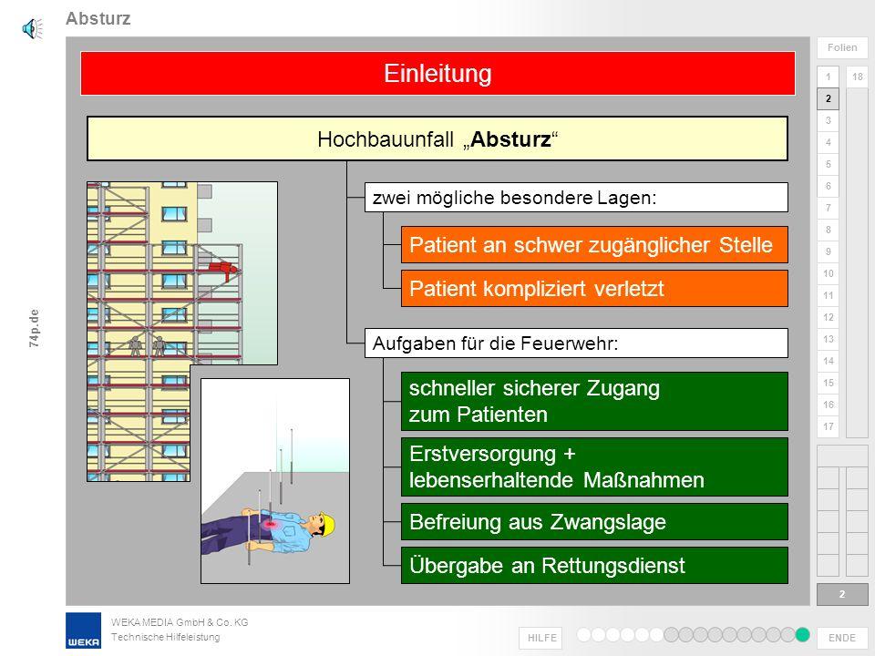 WEKA MEDIA GmbH & Co. KG Technische Hilfeleistung ENDE HILFE 1 2 3 4 5 6 Folien 7 8 9 10 11 12 13 14 15 16 17 18 74p.de Hochbauunfälle Absturz 1 Herzl