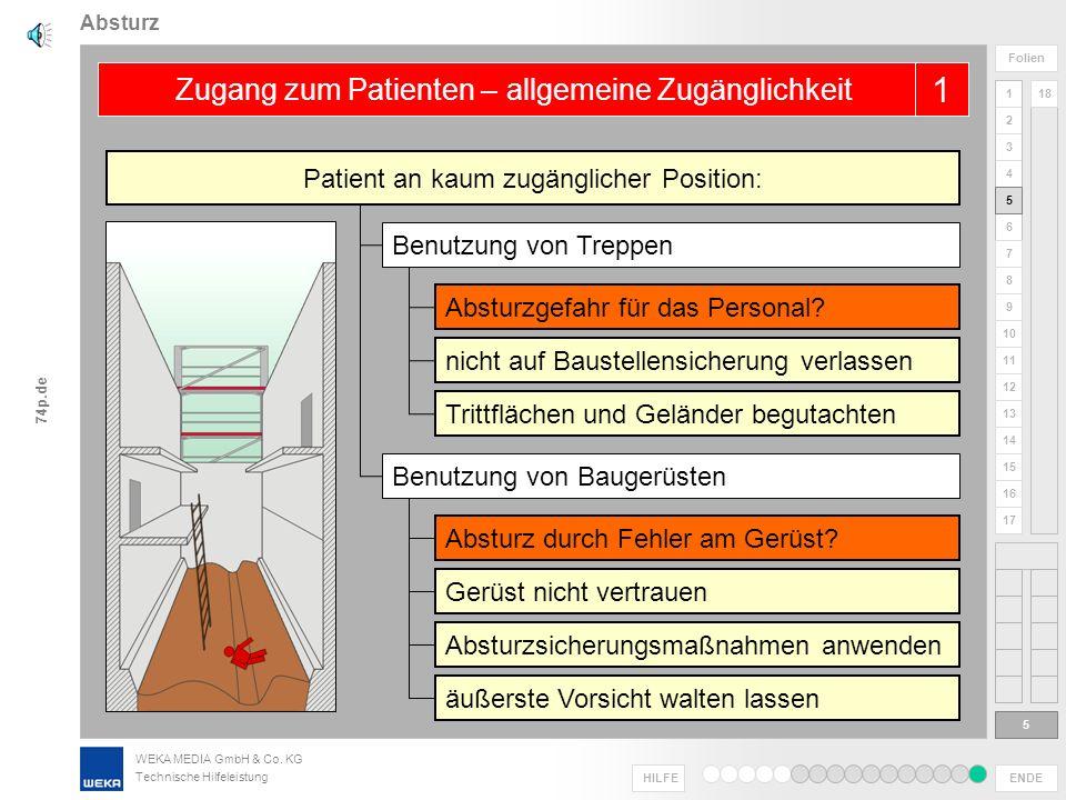 WEKA MEDIA GmbH & Co. KG Technische Hilfeleistung ENDE HILFE 1 2 3 4 5 6 Folien 7 8 9 10 11 12 13 14 15 16 17 18 74p.de Absturz 4 4 Zugang mit Großfah
