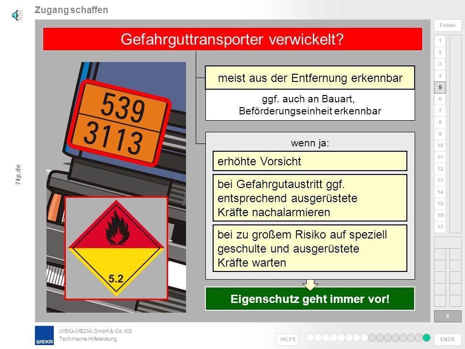 WEKA MEDIA GmbH & Co. KG Technische Hilfeleistung ENDE HILFE 1 2 3 4 5 6 Folien 7 8 9 10 11 12 13 14 15 16 17 74p.de Zugang schaffen 4 4 Gesamtsituati