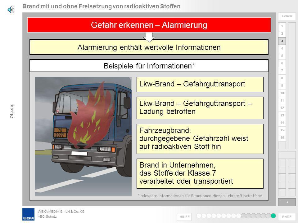 WEKA MEDIA GmbH & Co. KG ABC-Schutz ENDE HILFE 1 2 3 4 5 6 Folien 7 8 9 10 11 12 13 14 15 16 74p.de unterschiedliche Gefährdungslagen – erfordern unte