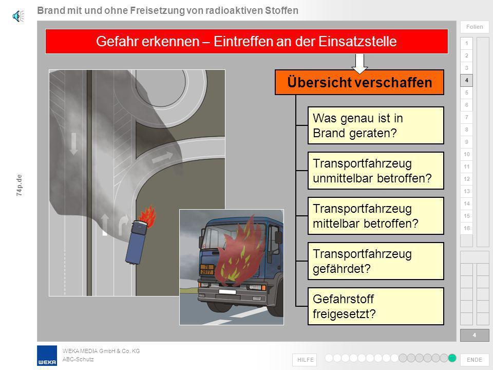 WEKA MEDIA GmbH & Co. KG ABC-Schutz ENDE HILFE 1 2 3 4 5 6 Folien 7 8 9 10 11 12 13 14 15 16 74p.de Beispiele für Informationen* Alarmierung enthält w