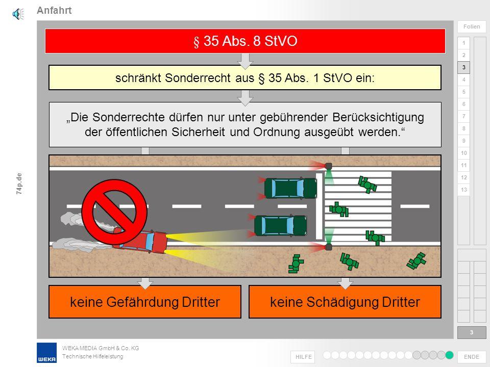 WEKA MEDIA GmbH & Co. KG Technische Hilfeleistung ENDE HILFE 1 2 3 4 5 6 7 8 9 10 11 Folien 74p.de 12 13 Unfall oder Gefährdung: ggf. Strafverfolgung