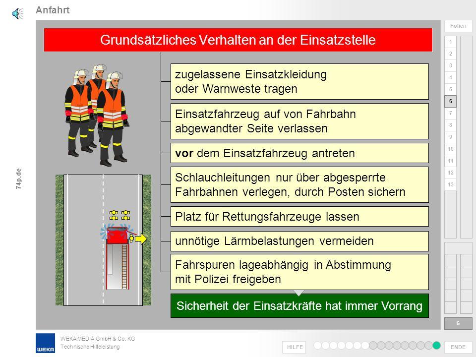 WEKA MEDIA GmbH & Co. KG Technische Hilfeleistung ENDE HILFE 1 2 3 4 5 6 7 8 9 10 11 Folien 74p.de 12 13 in Fahrgassen besonders vorsichtig fahren Anf