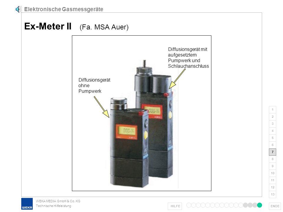 WEKA MEDIA GmbH & Co. KG Technische Hilfeleistung 1 2 3 4 5 6 7 8 9 ENDE 10 11 12 13 HILFE Elektronische Gasmessgeräte Kalibrierung Vol.-% UEG der Gas