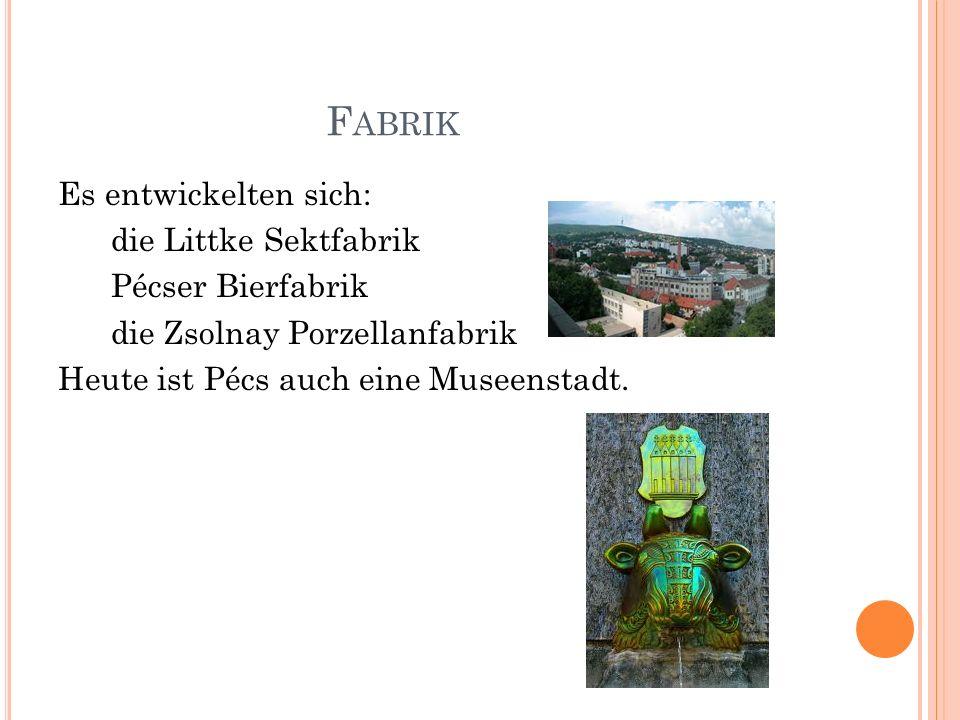 F ABRIK Es entwickelten sich: die Littke Sektfabrik Pécser Bierfabrik die Zsolnay Porzellanfabrik Heute ist Pécs auch eine Museenstadt.