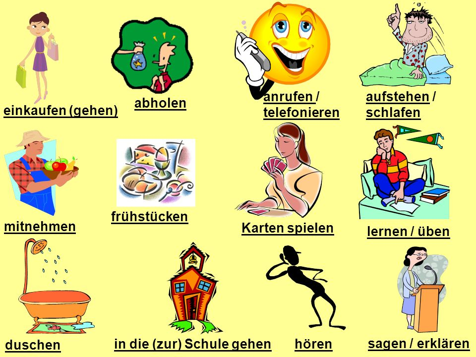 Word Order Example Time Verb Subject Verb/Noun Am Morgen stehe ich auf.
