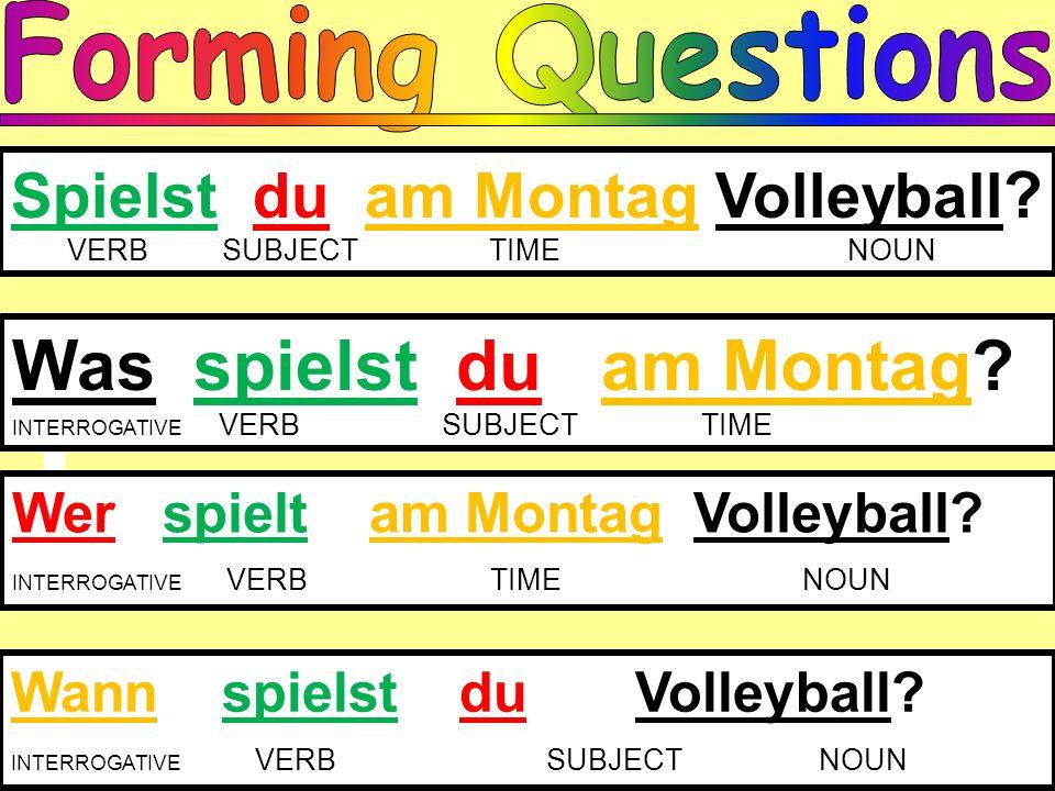 Spielst du am Montag Volleyball ? VERBSUBJECT TIME NOUN Was spielst du am Montag? INTERROGATIVE VERB SUBJECT TIME Wer spielt am Montag Volleyball? INT
