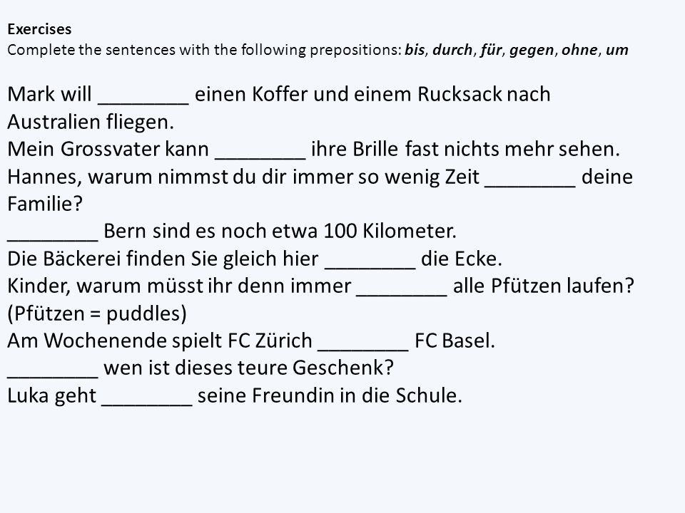 der words change to den die and das word stay the same Go to Quizlet – practice for a bit and create a test.