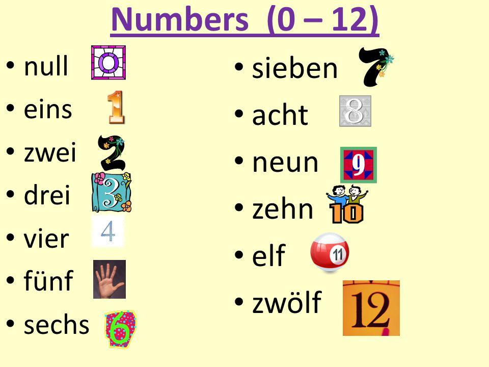 Numbers (0 – 12) null eins zwei drei vier fünf sechs sieben acht neun zehn elf zwölf