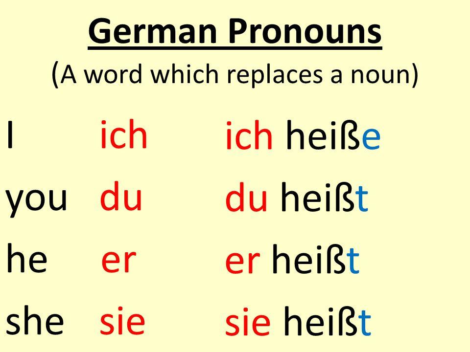 German Pronouns ( A word which replaces a noun) Iich youdu he er shesie ich heiße du heißt er heißt sie heißt