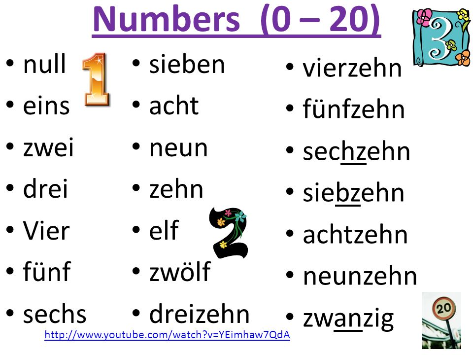 Numbers (0 – 20) null eins zwei drei Vier fünf sechs vierzehn fünfzehn sechzehn siebzehn achtzehn neunzehn zwanzig sieben acht neun zehn elf zwölf dre