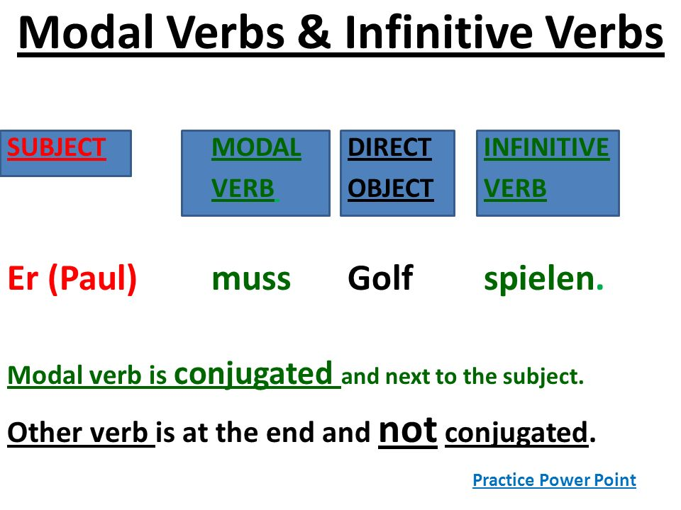 Modal Verbs & Infinitive Verbs SUBJECT MODAL DIRECT INFINITIVE VERB OBJECT VERB Er (Paul) muss Golf spielen. Modal verb is conjugated and next to the