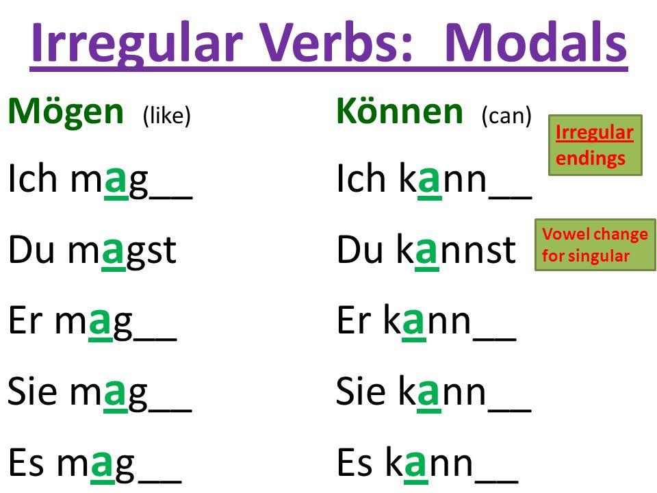 Irregular Verbs: Modals Mögen (like) Können (can) Ich m a g__Ich k a nn__ Du m a gstDu k a nnst Er m a g__Er k a nn__ Sie m a g__Sie k a nn__ Es m a g