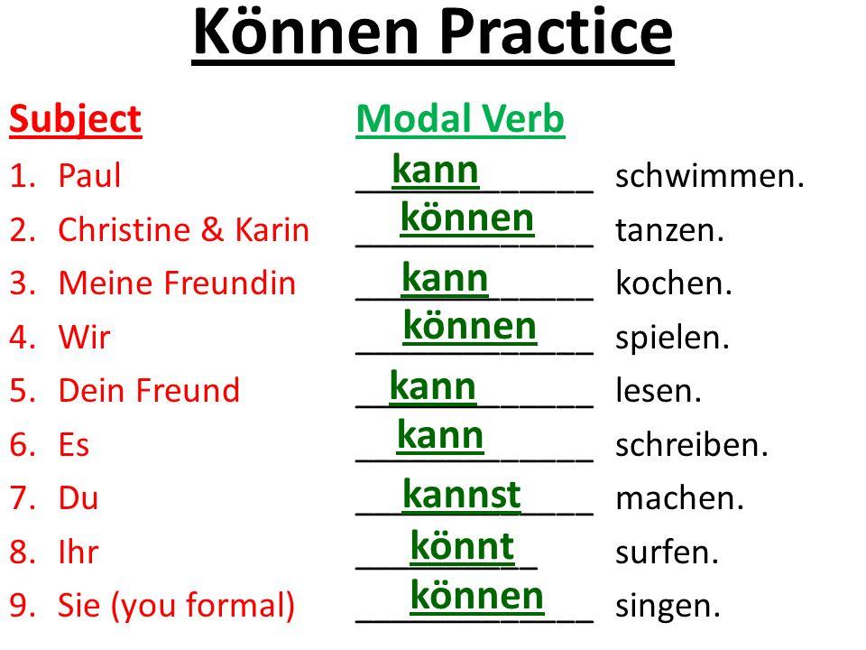 Können Practice Subject Modal Verb 1.Paul_____________schwimmen. 2.Christine & Karin_____________tanzen. 3.Meine Freundin_____________kochen. 4.Wir __