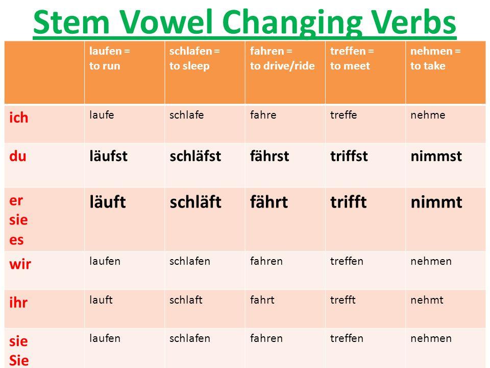 Stem Vowel Changing Verbs laufen = to run schlafen = to sleep fahren = to drive/ride treffen = to meet nehmen = to take ich laufeschlafefahretreffeneh