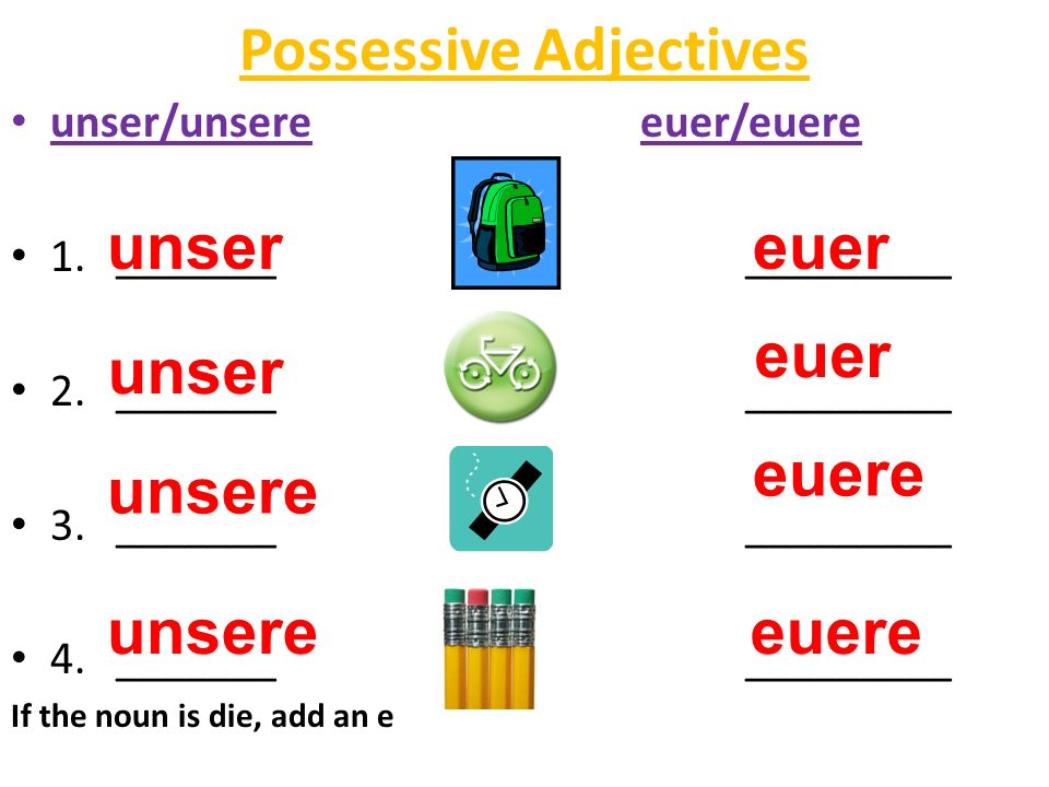 Possessive Adjectives unser/unsereeuer/euere 1._______ _________ 2.________________ 3.________________ 4.________________ If the noun is die, add an e
