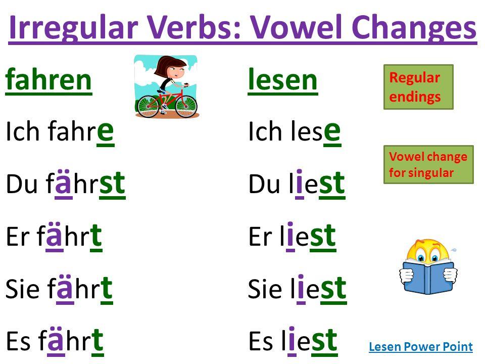 Irregular Verbs: Vowel Changes fahrenlesen Ich fahr e Ich les e Du f ä hr st Du l i e st Er f ä hr t Er l i e st Sie f ä hr t Sie l i e st Es f ä hr t