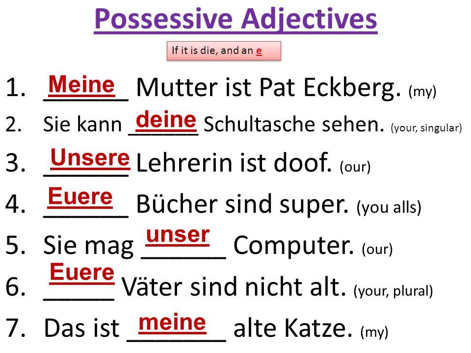 Possessive Adjectives 1.______ Mutter ist Pat Eckberg. (my) 2.Sie kann ______ Schultasche sehen. (your, singular) 3.______ Lehrerin ist doof. (our) 4.