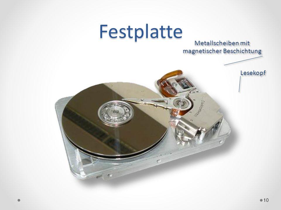 Festplatte 10 Metallscheiben mit magnetischer Beschichtung Lesekopf