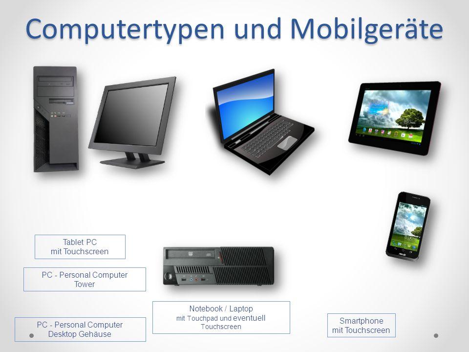 Computertypen und Mobilgeräte PC - Personal Computer Tower Tablet PC mit Touchscreen PC - Personal Computer Desktop Gehäuse Smartphone mit Touchscreen