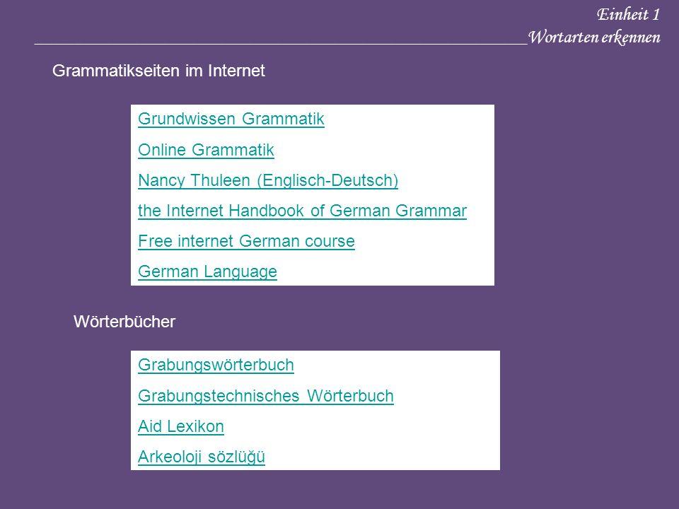 Einheit 1 ____________________________________________________Wortarten erkennen Grammatikseiten im Internet Grundwissen Grammatik Online Grammatik Na