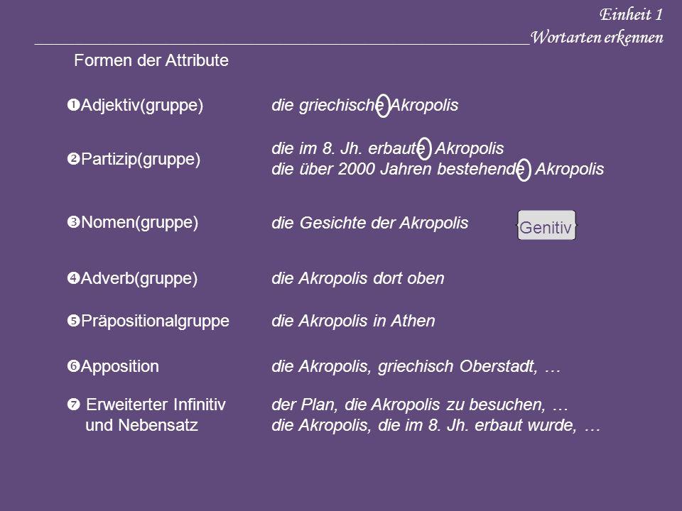 Einheit 1 ____________________________________________________Wortarten erkennen Adjektiv(gruppe)die griechische Akropolis Partizip(gruppe) die im 8.