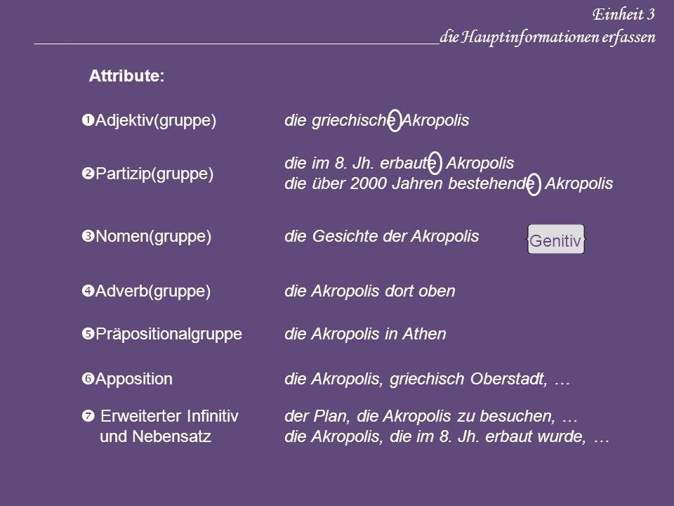 Adjektiv(gruppe)die griechische Akropolis Partizip(gruppe) die im 8. Jh. erbaute Akropolis die über 2000 Jahren bestehende Akropolis Nomen(gruppe)die
