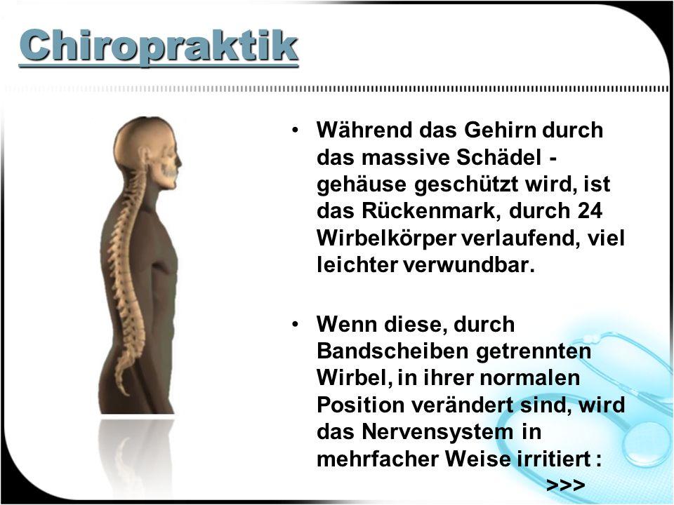 Chiropraktik Während das Gehirn durch das massive Schädel - gehäuse geschützt wird, ist das Rückenmark, durch 24 Wirbelkörper verlaufend, viel leichter verwundbar.