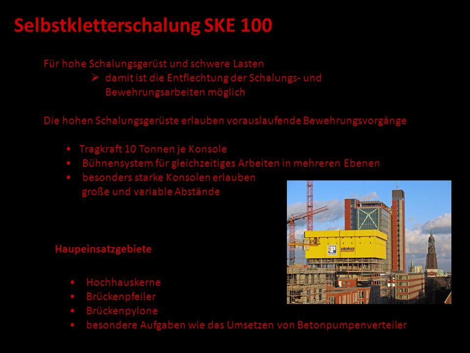 Selbstkletterschalung SKE 100 Tragkraft 10 Tonnen je Konsole Bühnensystem für gleichzeitiges Arbeiten in mehreren Ebenen besonders starke Konsolen erl