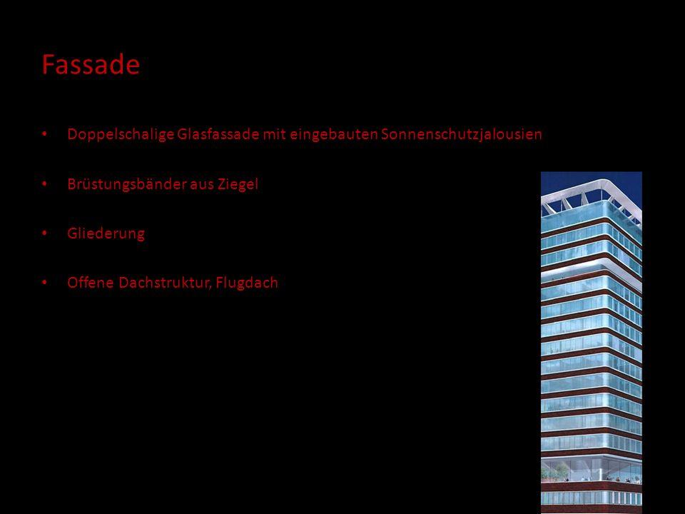 Fassade Doppelschalige Glasfassade mit eingebauten Sonnenschutzjalousien Brüstungsbänder aus Ziegel Gliederung Offene Dachstruktur, Flugdach