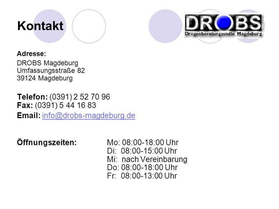 Adresse: DROBS Magdeburg Umfassungsstraße 82 39124 Magdeburg Telefon: (0391) 2 52 70 96 Fax: (0391) 5 44 16 83 Email: info@drobs-magdeburg.deinfo@drob