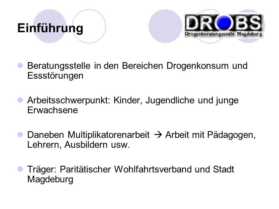 Beratungsstelle in den Bereichen Drogenkonsum und Essstörungen Arbeitsschwerpunkt: Kinder, Jugendliche und junge Erwachsene Daneben Multiplikatorenarb