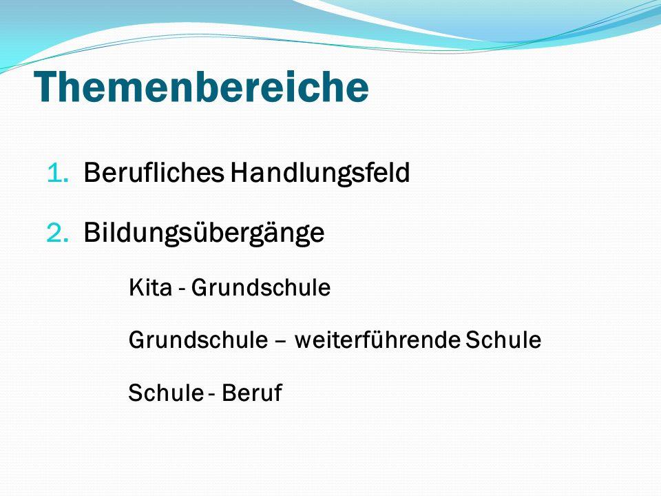 Themenbereiche 1. Berufliches Handlungsfeld 2. Bildungsübergänge Kita - Grundschule Grundschule – weiterführende Schule Schule - Beruf