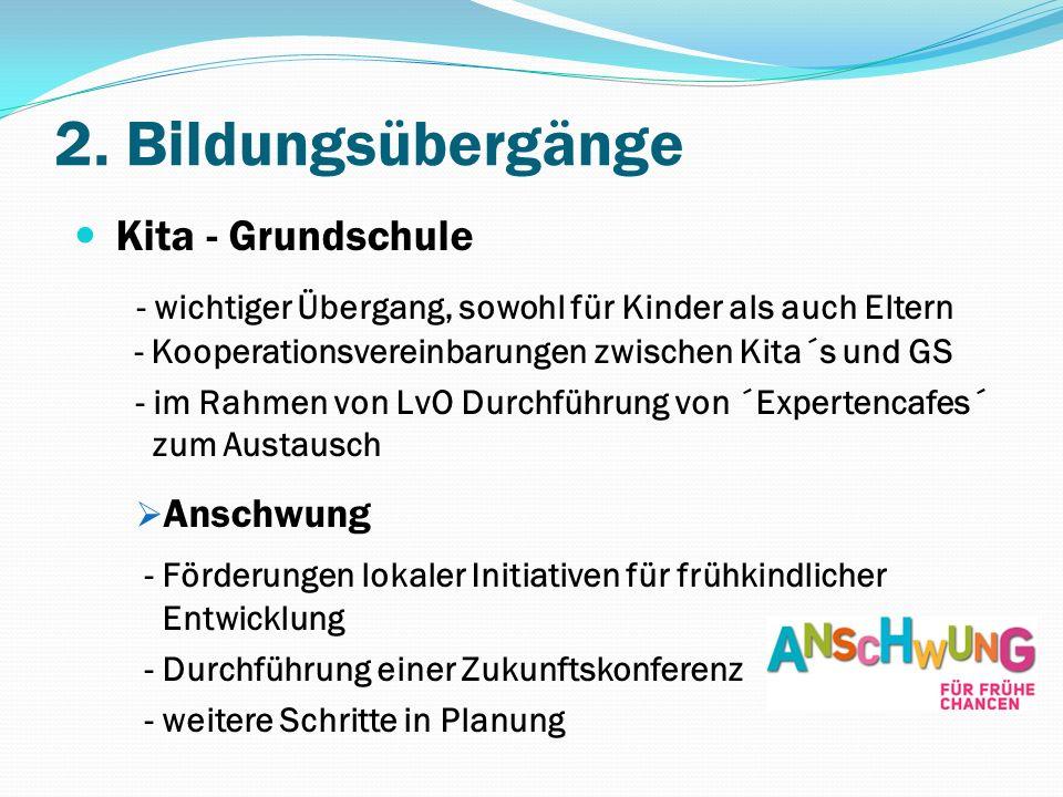 2. Bildungsübergänge Kita - Grundschule - wichtiger Übergang, sowohl für Kinder als auch Eltern - Kooperationsvereinbarungen zwischen Kita´s und GS -