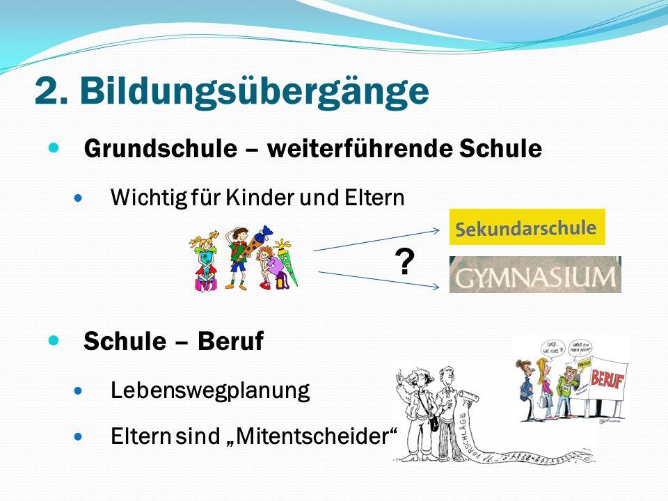2. Bildungsübergänge Grundschule – weiterführende Schule Wichtig für Kinder und Eltern Schule – Beruf Lebenswegplanung Eltern sind Mitentscheider ?