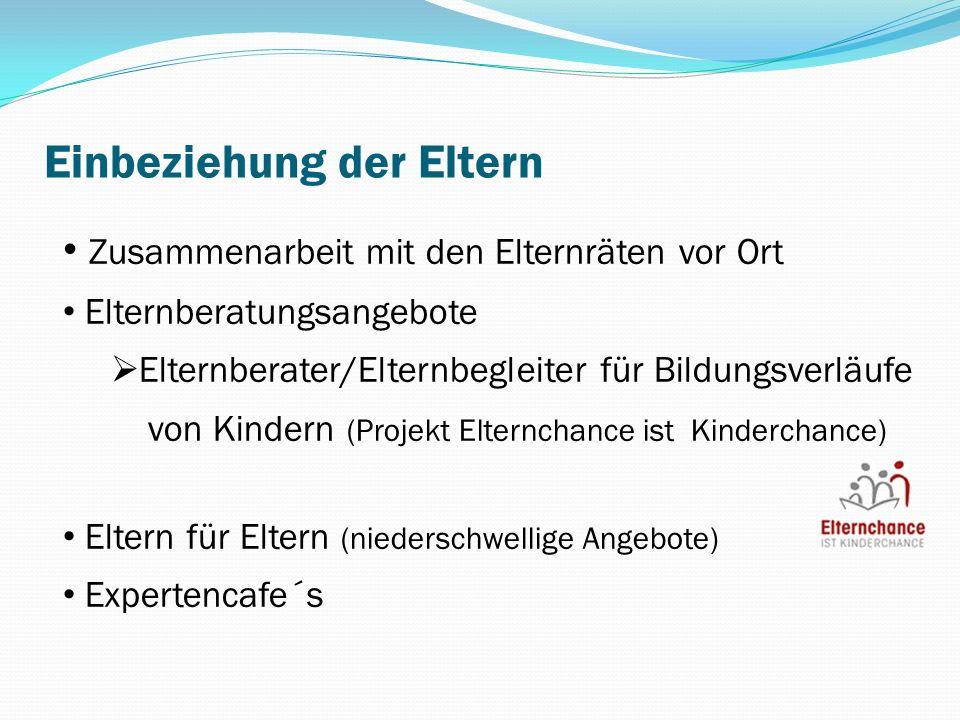 Zusammenarbeit mit den Elternräten vor Ort Elternberatungsangebote Elternberater/Elternbegleiter für Bildungsverläufe von Kindern (Projekt Elternchanc