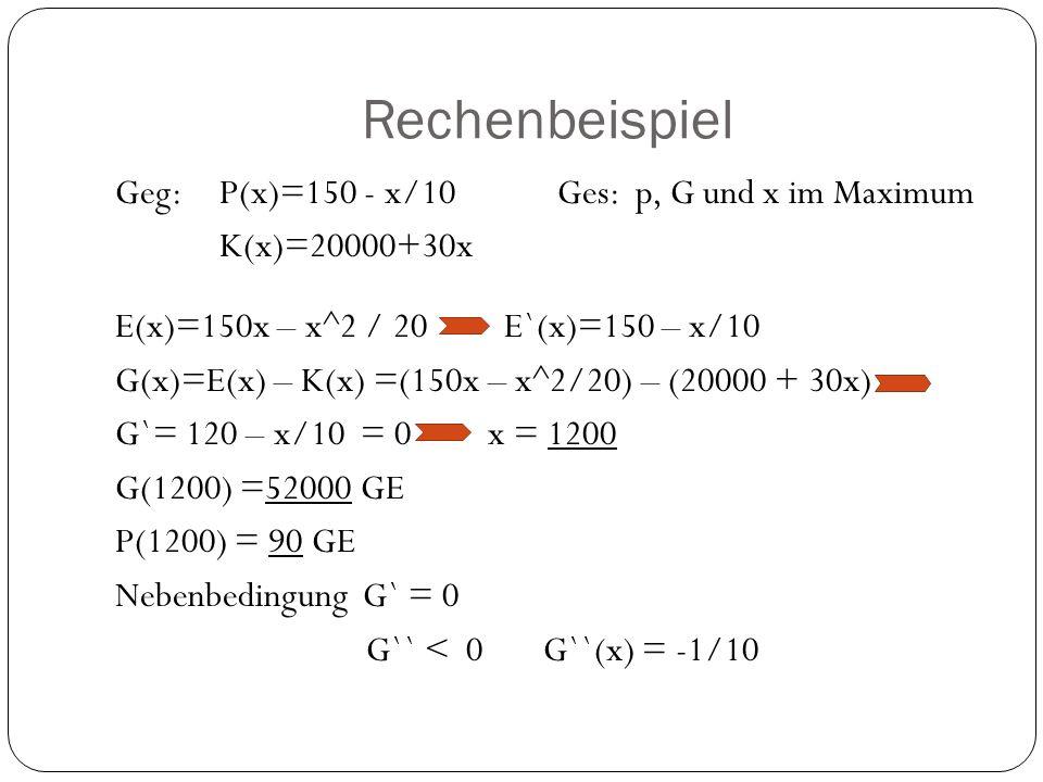 Rechenbeispiel Geg:P(x)=150 - x/10 Ges: p, G und x im Maximum K(x)=20000+30x E(x)=150x – x^2 / 20 E`(x)=150 – x/10 G(x)=E(x) – K(x) =(150x – x^2/20) –