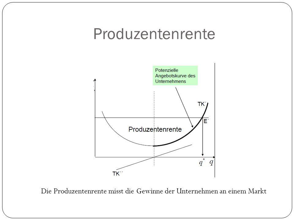 Rechenbeispiel Geg:P(x)=150 - x/10 Ges: p, G und x im Maximum K(x)=20000+30x E(x)=150x – x^2 / 20 E`(x)=150 – x/10 G(x)=E(x) – K(x) =(150x – x^2/20) – (20000 + 30x) G`= 120 – x/10 = 0 x = 1200 G(1200) =52000 GE P(1200) = 90 GE Nebenbedingung G` = 0 G`` < 0 G``(x) = -1/10