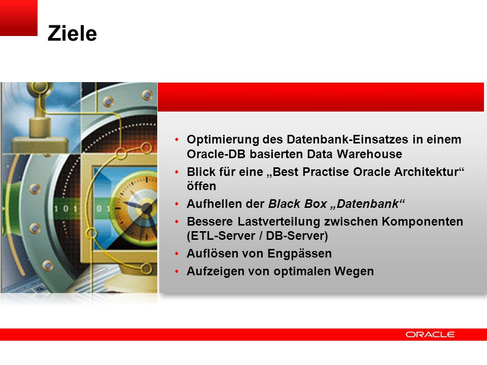 Click to edit title Click to edit Master text styles Insert Picture Here Arbeiten ohne Constraints Constraints stören bei Massenaktionen im DWH Ausschalten der Constraints Übernahme der Aufgaben von Constraints durch ETL- Prozess Mengen-basierte Vorgehensweise spool test.sql select alter table ||table_name|| disable constraint ||constraint_name|| ; from user_constraints where table_name=( TABELLENNAME ); spool off 74