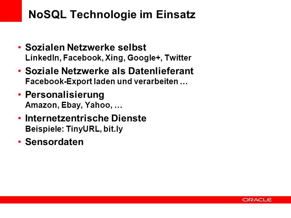 NoSQL Technologie im Einsatz Sozialen Netzwerke selbst LinkedIn, Facebook, Xing, Google+, Twitter Soziale Netzwerke als Datenlieferant Facebook-Export